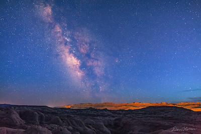 Milky Way over Fins - Sand Flats Recreation Area.  Mummy Cave Trail.  Twilight.