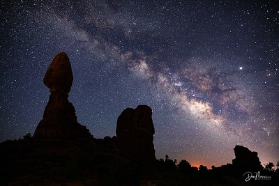 Milky Way with Balanced Rock Silhouette