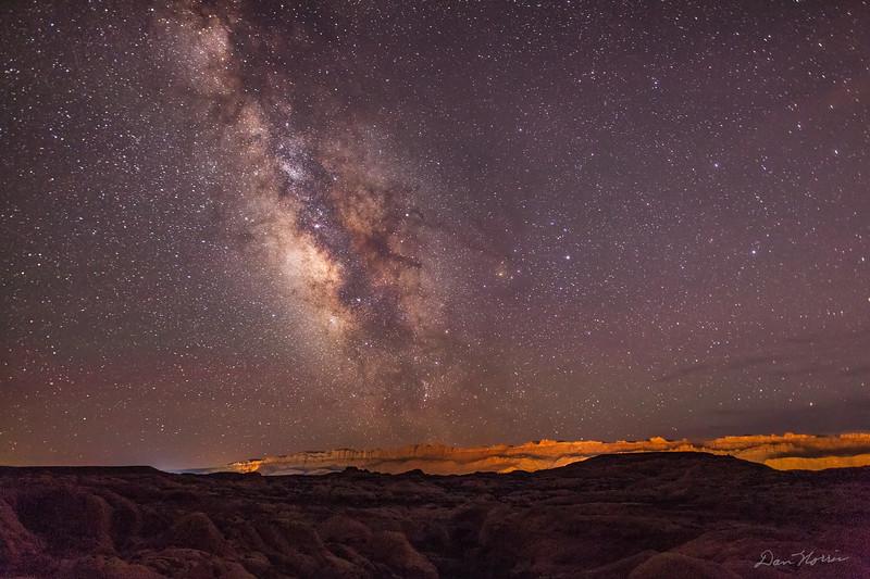 Milky Way over Fins - Sand Flats Recreation Area.  Mummy Cave Trail.  Dark Sky.