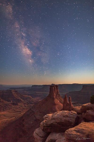Moonlight and the Milky Way at twilight.  Marlboro Point northwest of Moab, Utah.