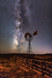 Dubinky Well Windmill and Milky Way.  West of Moab, Utah.