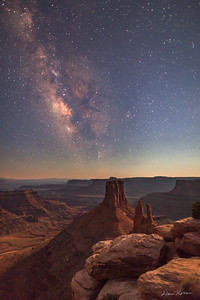 Moonlight and the Milky Way at the end of twilight. Marlboro Point northwest of Moab, Utah.