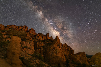 Craggy rocks and the Milky Way.  Above Ken's Lake south of Moab.