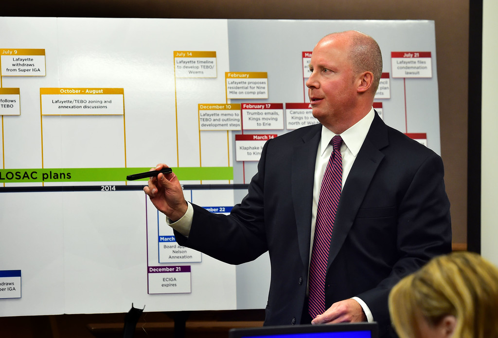 """. Erie Town Administrator Arthur \""""A.J.\"""" Krieger returns a laser pointer he used while testifying in a hearing over the lawsuit over the Nine Mile Corner development on the border between Lafayette and Erie at the Boulder County Justice Center on Tuesday. Behind Krieger is a timeline used by the lawyers for the town of Erie. For more photos go to www.dailycamera.com Paul Aiken Staff Photographer Feb 13 2017"""