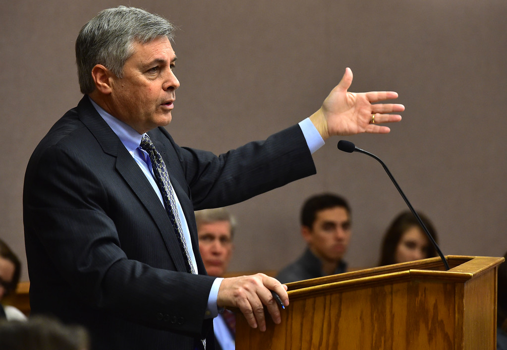 . Attorney Donald Ostrander makes an opening statement for the city of Lafayette during a hearing over the lawsuit over the Nine Mile Corner development on the border between the Erie and Lafayette at the Boulder County Justice Center on Tuesday. For more photos go to www.dailycamera.com Paul Aiken Staff Photographer Feb 13 2017