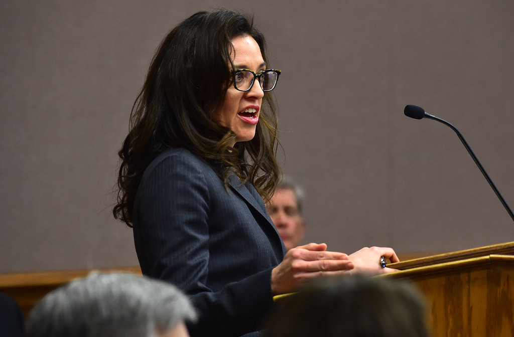 . Attorney Mikaela Rivera makes an opening statement for the city of Erie during a hearing over the lawsuit over the Nine Mile Corner development on the border between the Erie and Lafayette at the Boulder County Justice Center on Tuesday. For more photos go to www.dailycamera.com Paul Aiken Staff Photographer Feb 13 2017