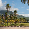 The view of Mt. Nevis and The Great House as seen from the beach at Nisbet P plantation.
