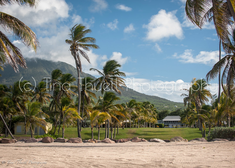 The Great House at Nisbet  Plantation with Mt. Nevis in view as seen from the beach.