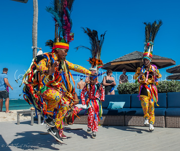 Sundays on the beach bring all sorts of  fun and entertainment.  Here the Masquerade dancers heat up the decks of Nisbet's beach bar.