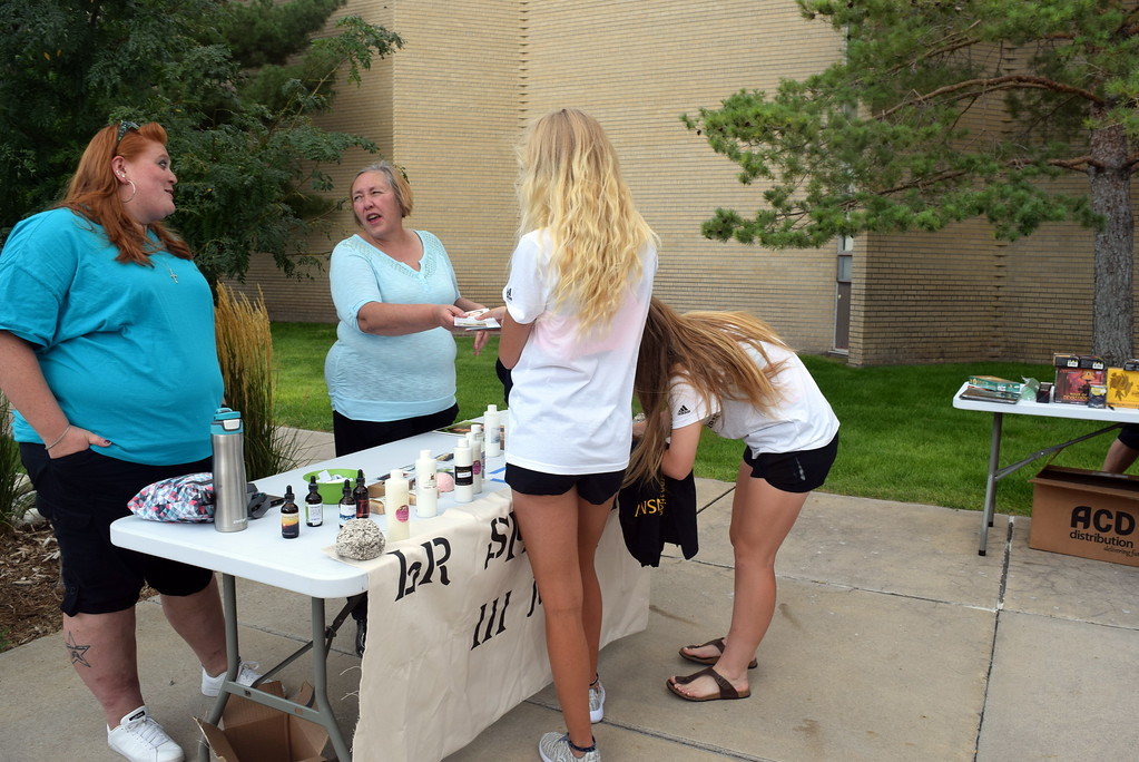 . L.R. Spa was among the local businesses present at Northeastern Junior College\'s BBQ and Community Club Fair Thursday, Aug. 17, 2017, to provide information to students arriving on campus.