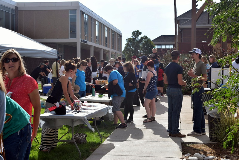 Student and families were able to get informed about various businesses in the community and activities on campus at different booths during Northeastern Junior College's BBQ and Community Club Fair, part of the college's move-in day activities, Thursday, Aug. 17, 2017.