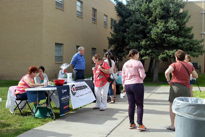 Students and families were able to learn about opportunities available througn Sterling Workforce Center Thursday, Aug. 17, 2017, at Northeastern Junior College's BBQ and Community Club Fair, part of the college's move-in day activities.