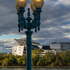 Street lamp from Covington KY with Paul Brown Stadium in the Background