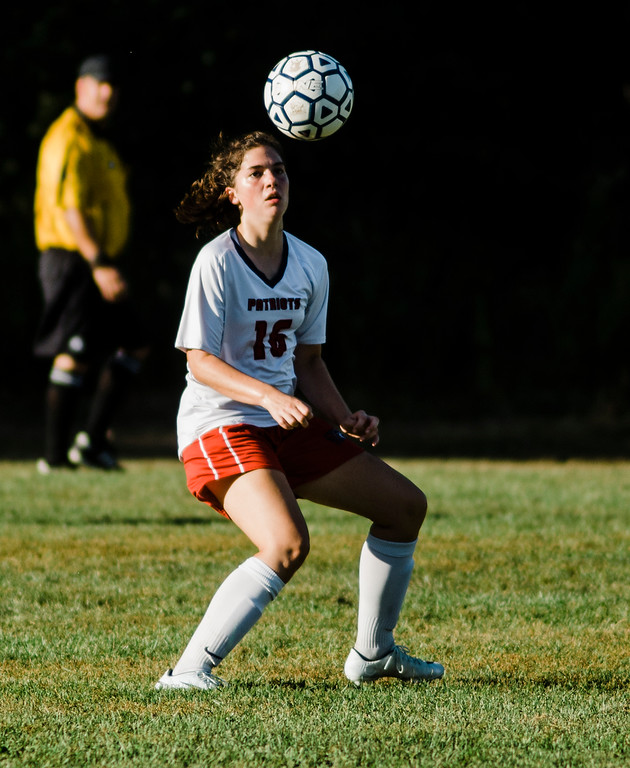 . North Middlesex\'s Julia Cappellini in action during the game against Quabbin on Wednesday, September 27, 2017. SENTINEL & ENTERPRISE / Ashley Green