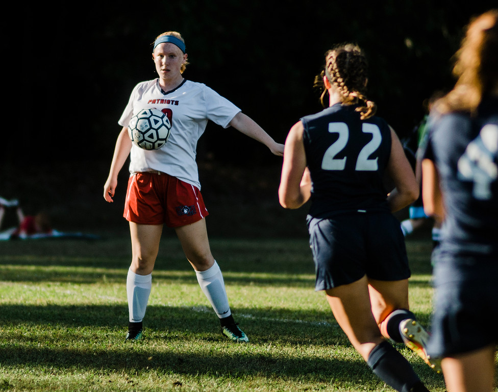 . North Middlesex\'s Caroline Cournoyer in action during the game against Quabbin on Wednesday, September 27, 2017. SENTINEL & ENTERPRISE / Ashley Green