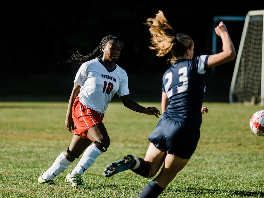 . North Middlesex\'s Martina Nkwantah in action during the game against Quabbin on Wednesday, September 27, 2017. SENTINEL & ENTERPRISE / Ashley Green