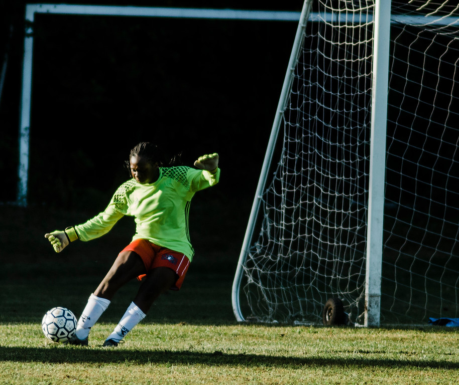 . North Middlesex\'s Catherine Nkwantah in action during the game against Quabbin on Wednesday, September 27, 2017. SENTINEL & ENTERPRISE / Ashley Green