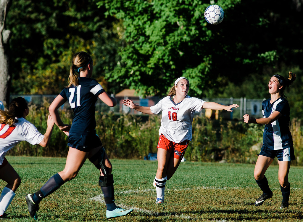 . North Middlesex\'s Hannah Nolan in action during the game against Quabbin on Wednesday, September 27, 2017. SENTINEL & ENTERPRISE / Ashley Green