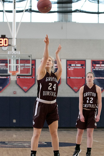 North Middlesex Regional High School girls basketball played Groton Dunstable Regional High School on Saturday in Townsend. GD's #24 Nicole Tammaro shots a free throw. SENTINEL & ENTERPRISE/JOHN LOVE