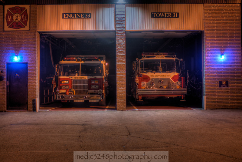 NMFD Company 2 Engine 33 and Tower 31 HDR nightshot.