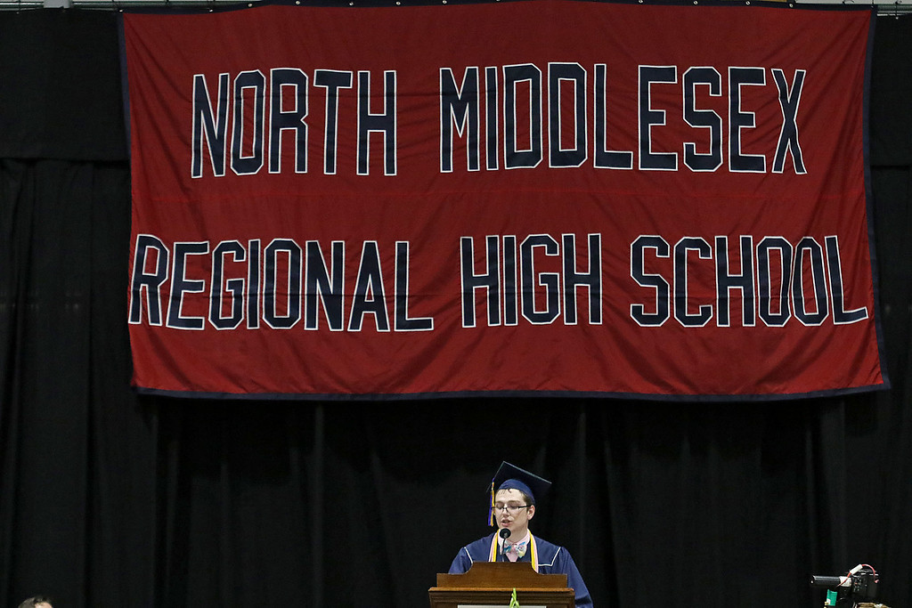 . North Middlesex Regional High School held its 57th commencement exercises on June 1, 2018 at Fitchburg State University Recreation Center. Valedictorian Alexander Nick addresses his class at the ceremony. SENTINEL & ENTERPRISE/JOHN LOVE