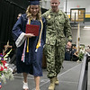 North Middlesex Regional High School graduation was held on Friday night at Fitchburg State University Recreation Center. Graduate Madison Davis was shocked when she heard that Navy Petty Officer Zachary Davis, a graduate of NMRHS in 2014, her brother was going to give her her diploma. She escorted him off the stage with a big smile on her face. SENTINEL & ENTERPRISE/JOHN LOVE