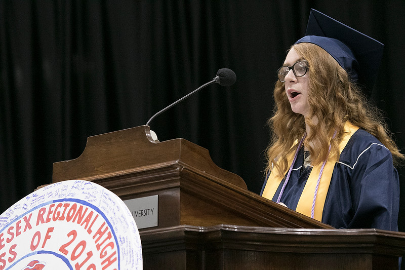 North Middlesex Regional High School graduation was held on Friday night at Fitchburg State University Recreation Center. Valedictorian address was given by graduate Sophia Adami-Sampson. SENTINEL & ENTERPRISE/JOHN LOVE