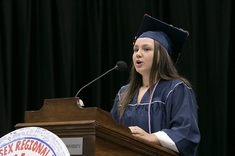 North Middlesex Regional High School graduation was held on Friday night at Fitchburg State University Recreation Center. Graduate Grace Baron gave the honor essayist speech during the ceremony. SENTINEL & ENTERPRISE/JOHN LOVE