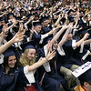 North Middlesex Regional High School graduation was held on Friday night at Fitchburg State University Recreation Center. Graduates do a wave just before they threw their caps at the end of the ceremony. SENTINEL & ENTERPRISE/JOHN LOVE