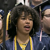 "North Middlesex Regional High School graduation was held on Friday night at Fitchburg State University Recreation Center. Graduate Seala Matthias sings with the NMRHS choirs as they poerform the song ""Rise Up"" during the ceremony. SENTINEL & ENTERPRISE/JOHN LOVE"