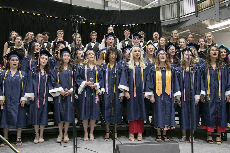 "North Middlesex Regional High School graduation was held on Friday night at Fitchburg State University Recreation Center. Graduates sing with the NMRHS choirs as they poerform the song ""Rise Up"" during the ceremony. SENTINEL & ENTERPRISE/JOHN LOVE"