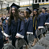 North Middlesex Regional High School graduation was held on Friday night at Fitchburg State University Recreation Center. Graduates line up to get their diplomas. SENTINEL & ENTERPRISE/JOHN LOVE