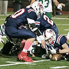 North Middlesex Regional High School football played Nashoba Regional High School Friday, Oct. 4, 2019 in Townsend. NRHS's #81 Dan McGrath,on right with ball, jumps on a fumble. SENTINEL & ENTERPRISE/JOHN LOVE