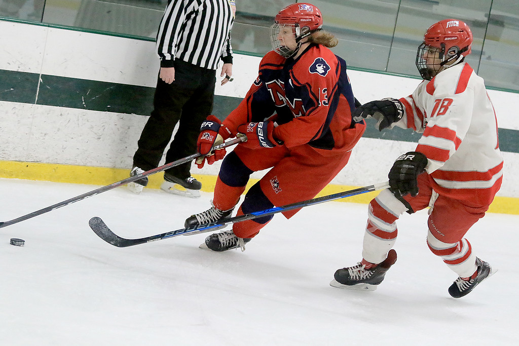 . North Middlesex Regional High School hockey played Fitchburg/Monty Tech High School on Tuesday afternoon at the Wallace Civic Center at Fitchburg State University.  Fitchburg\'s Anthony Lesperance Tries to stop NMRHS\'s John Murphy. SENTINEL & ENTERPRISE/JOHN LOVE