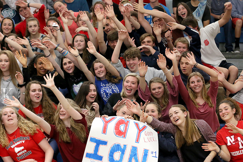 North Middlesex Regional High School sophomores do a unique wave at the 10th annual pep rally for the schools athletes that will be participating in Friday's Special Olympics at Fitchburg State University. SENTINEL & ENTERPRISE/JOHN LOVE