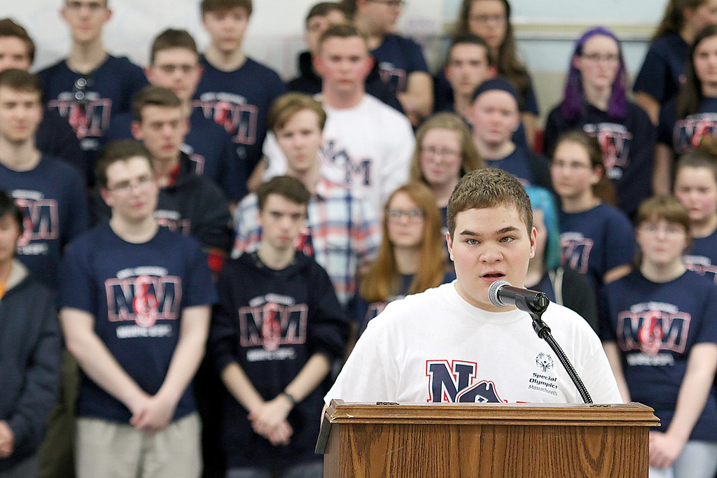 . North Middlesex Regional High School student Connor Dee talks about why he like participating in the Special Olympics at the 10th annual pep rally for the schools athletes that will be participating in Friday\'s Special Olympics at Fitchburg State University. SENTINEL & ENTERPRISE/JOHN LOVE