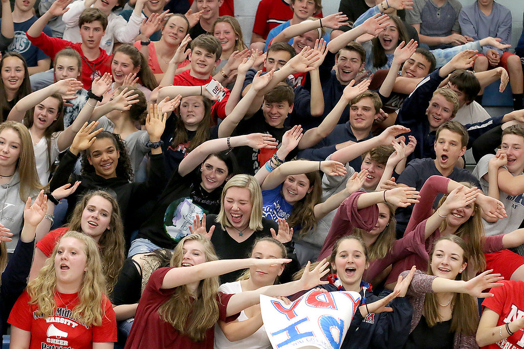 . North Middlesex Regional High School sophomores do a unique wave at the 10th annual pep rally for the schools athletes that will be participating in Friday\'s Special Olympics at Fitchburg State University. SENTINEL & ENTERPRISE/JOHN LOVE