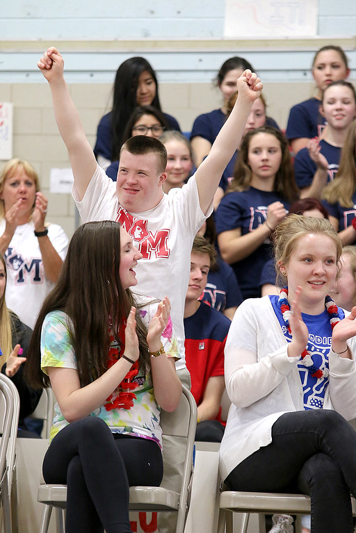 . North Middlesex Regional High School Gateway Program student Danny Dichaut was all excited as his name was called at the 10th annual pep rally for the schools athletes that will be participating in Friday\'s Special Olympics at Fitchburg State University. SENTINEL & ENTERPRISE/JOHN LOVE
