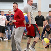 North Middlesex Regional High School Principal pysical education teacher Jeff Waldron and senior Adam Lorden have a little fun playing a game at the 10th annual pep rally for the schools athletes that will be participating in Friday's Special Olympics at Fitchburg State University. SENTINEL & ENTERPRISE/JOHN LOVE