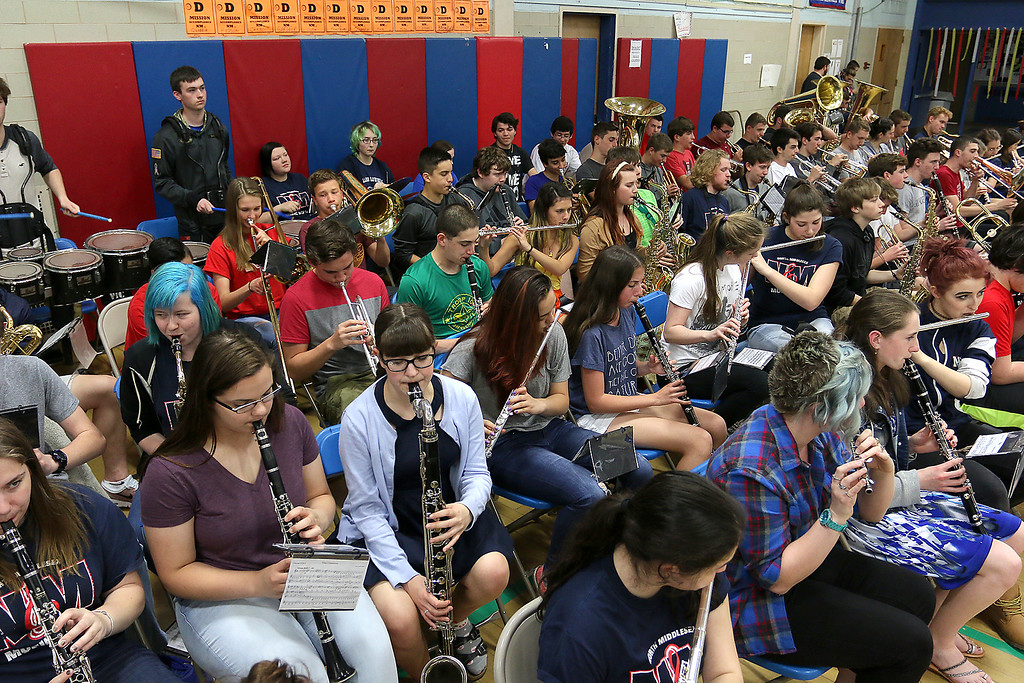 . North Middlesex Regional High School band played during the schools Pep Rally for the students taking part in Friday\'s Special Olympics at Fitchburg State University. SENTINEL & ENTERPRISE/JOHN LOVE