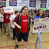 North Middlesex Regional High School members of Best Buddies, the Unified Track team and athletes participating in Friday's Special Olympics at Fitchburg State University  parade into the gym at the school during the Pep Rally on Thursday. SENTINEL & ENTERPRISE/JOHN LOVE