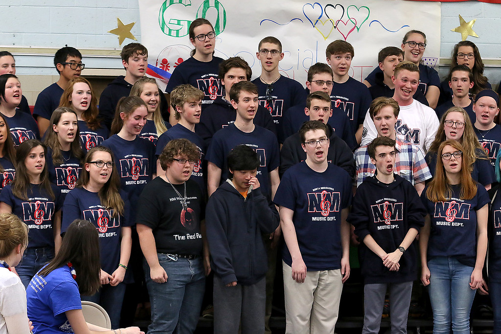 . North Middlesex Regional High School\'s chorus sings the schools song at the 10th annual pep rally for the schools athletes that will be participating in Friday\'s Special Olympics at Fitchburg State University. SENTINEL & ENTERPRISE/JOHN LOVE