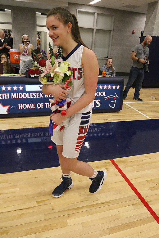 . Hadley Beauregard reach the milestone of 1000 points and was honored at Friday nights game after her first Basket. SENTINEL & ENTERPRISE/JOHN LOVE