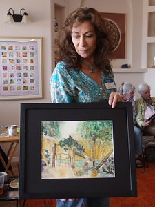 Ana Uranga and her lovely painting from  long ago.  She said she hadn't anything recent as she gives them all away to her sisters.