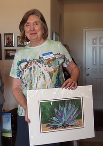 Janet McLennan and her cactus painting, shades of blue.  Janet is this years Exhibitions Chair.