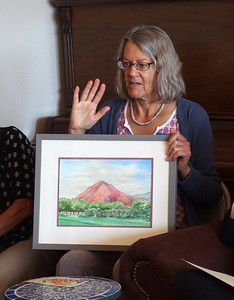 Arlene Tugel - plein air painting is her thing and this is her interpretation of Picacho Peak, paint what you love using colors you love.  Arlene along with Laurie Churchill did Workshops for past two years.