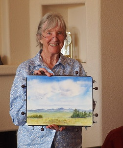 Penny Duncklee, paints what she likes - so are those the Organs, or mountains in AZ, doesn't matter, it's lovely.  Penny is an ongoing member of the Alternate Spaces team.