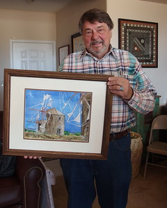 Paul Vakselis and his wonderful windmill painting from Greece.  Paul is going to be doing Alternative Spaces with the help of Penny Duncklee and Lu Beavens next year.