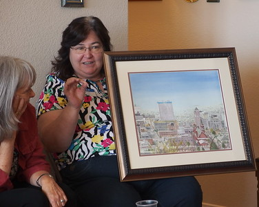 Dorian Clouser - El Paso Member - did the drawing of downtown El Paso plein air and then painted using photographs.