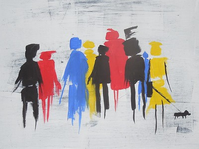 Street People - gesso layers and gouache